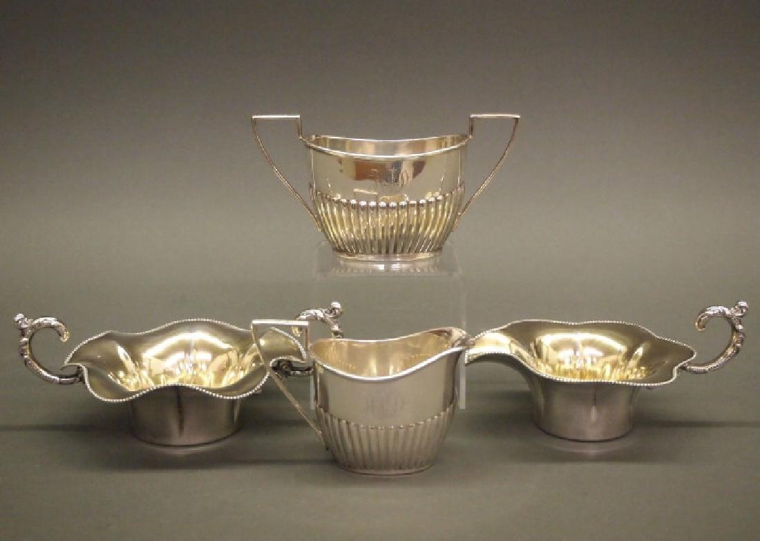 Sterling creamer and sugar bowl sets