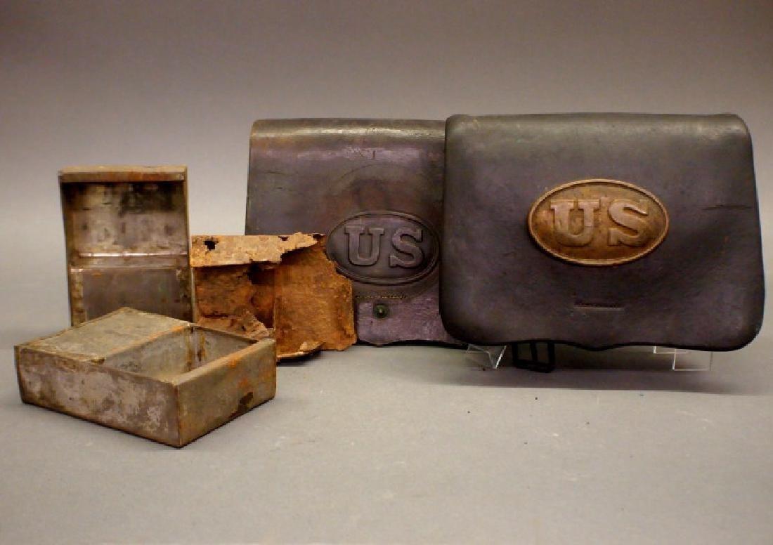 Civil War era cartridge boxes and tins