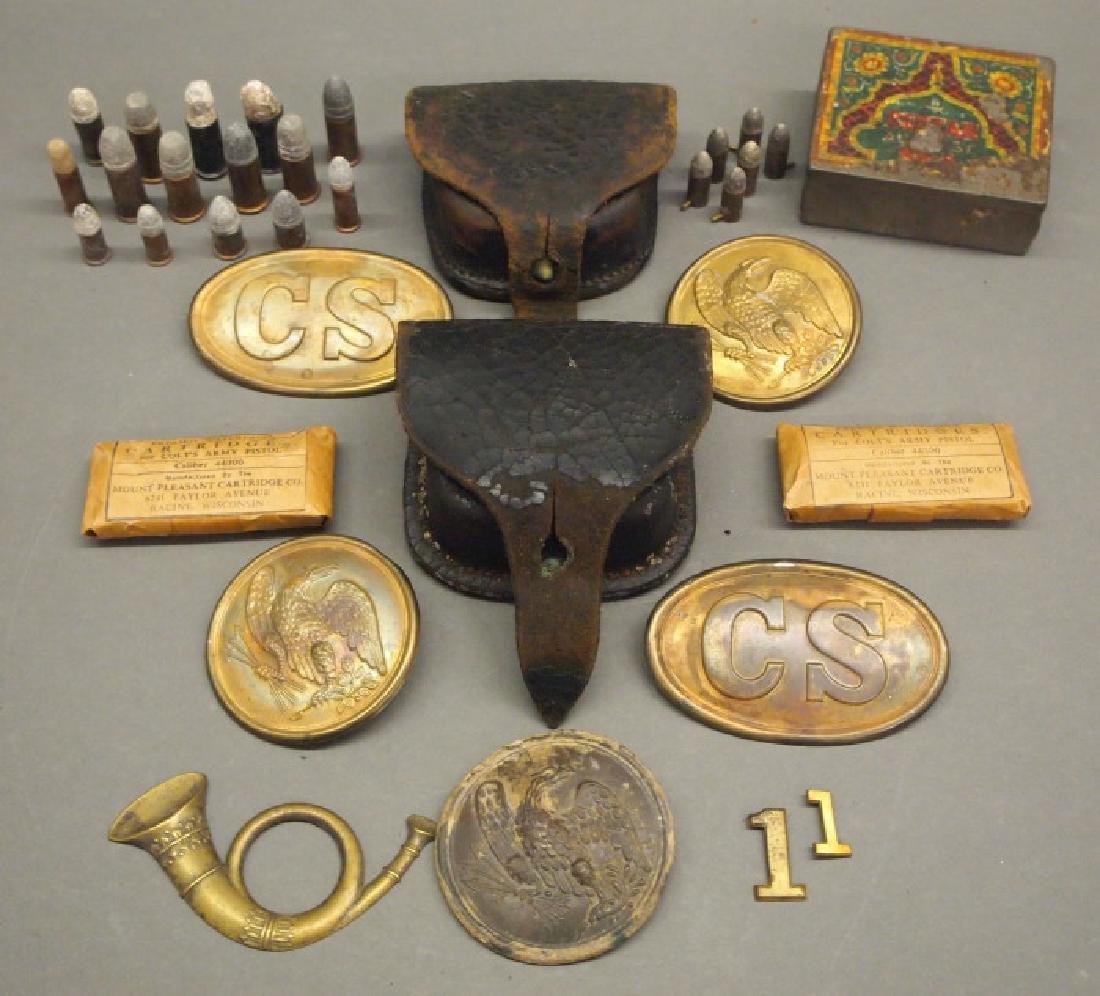 Civil War era cap boxes and accessories