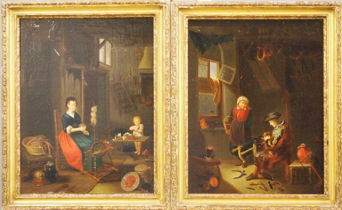 Pair of European oil paintings