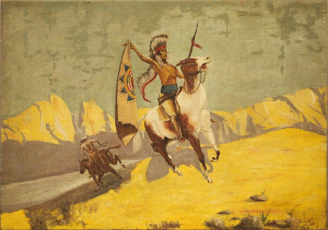 "Oil painting of ""The Sioux"""