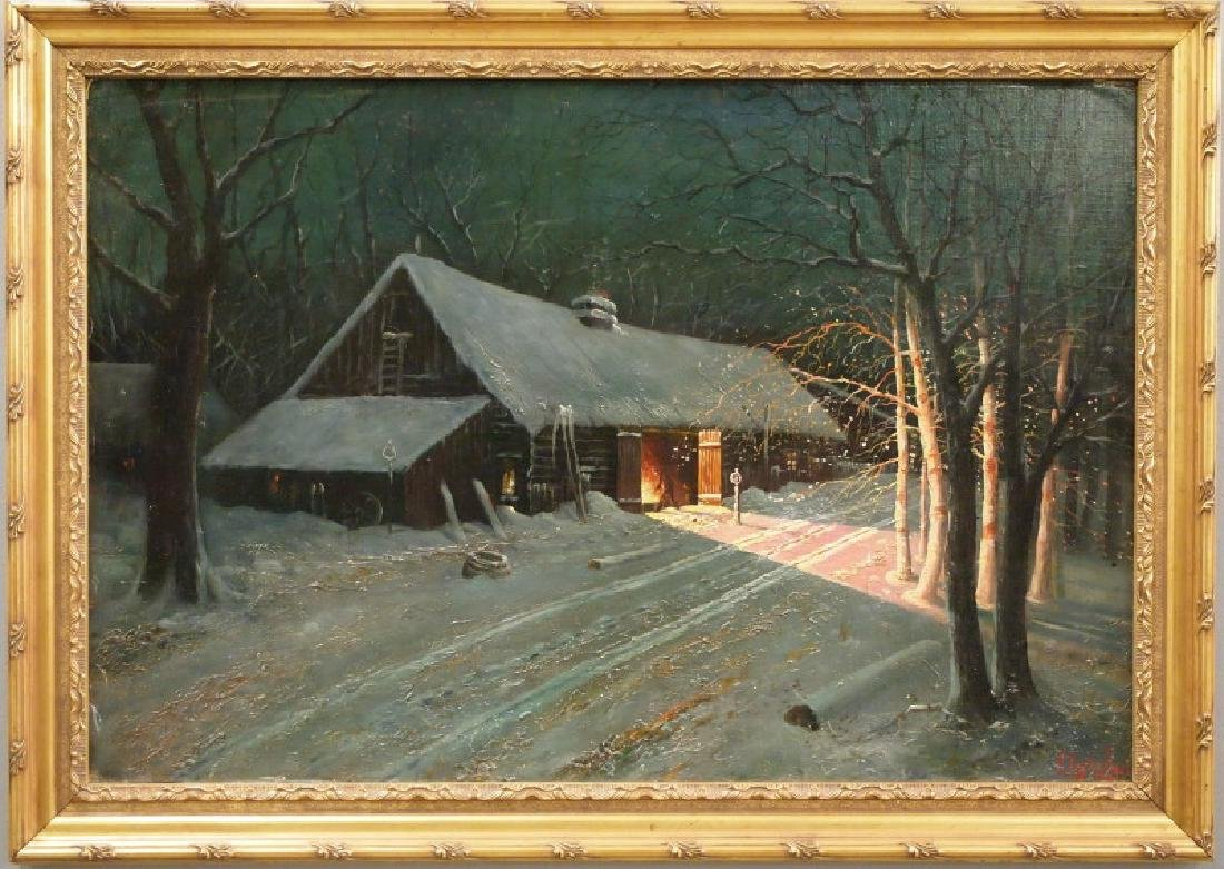Langhaus Norwegian oil painting