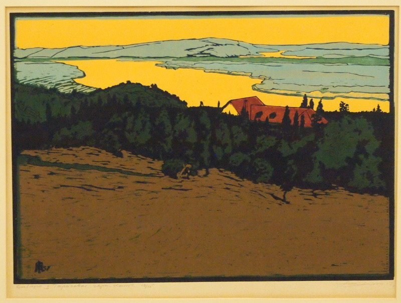 Mid 20th c woodcut in colors