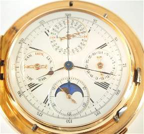 Haas 18k minute repeating pocket watch w/chronograph