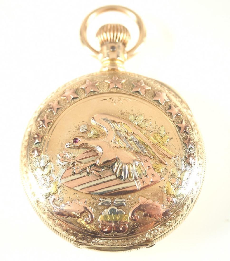 Elgin 14k multicolor gold pocket watch