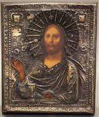 Early 19th c Russian Silver Icon of Christ
