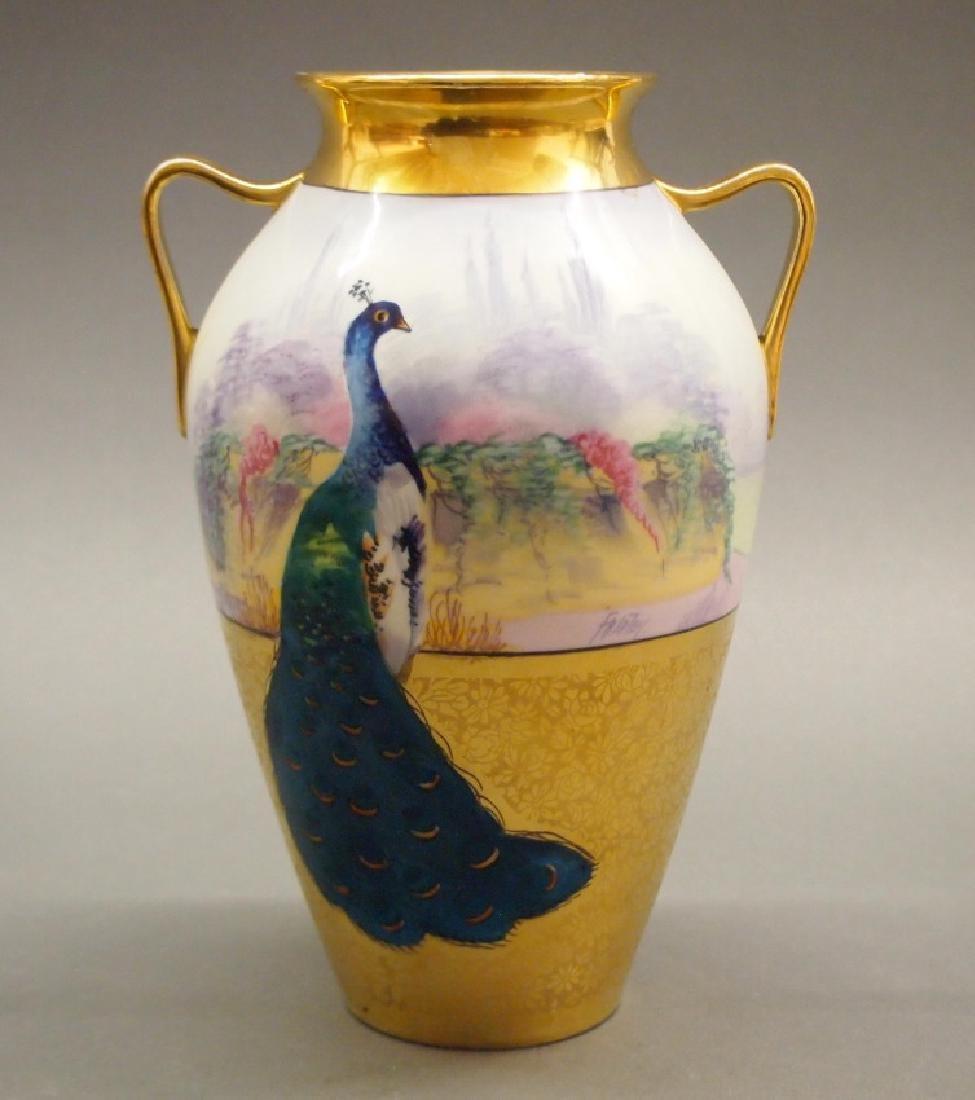 Pickard Signed Peacock vase