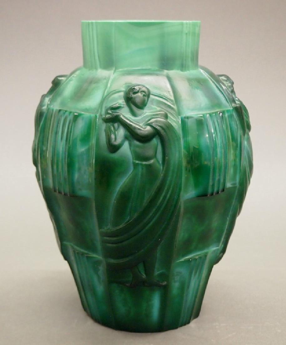 Czech Art Deco Malachite vase