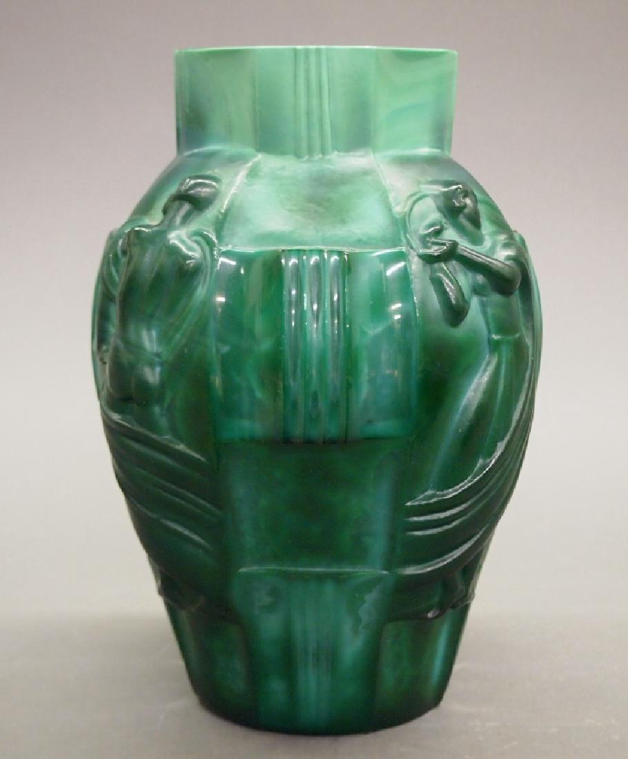 Czech Art Deco Malachite vase - 2