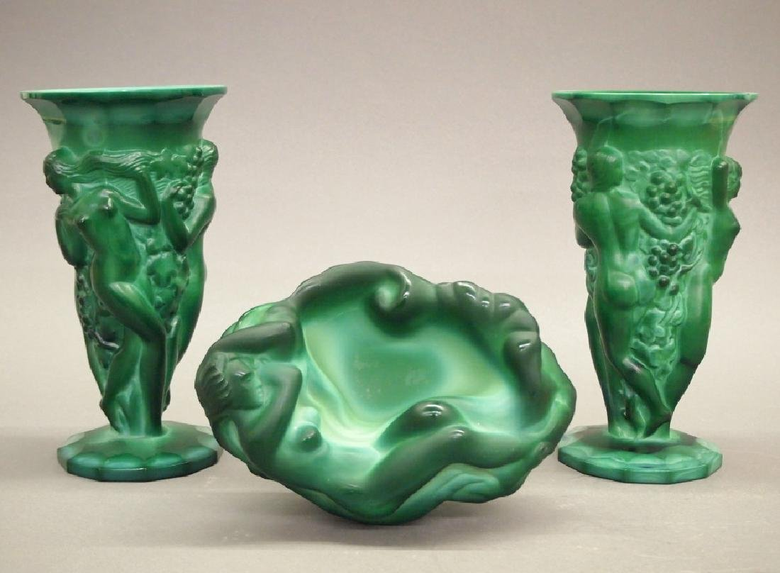 3 Czech Art Deco Malachite items