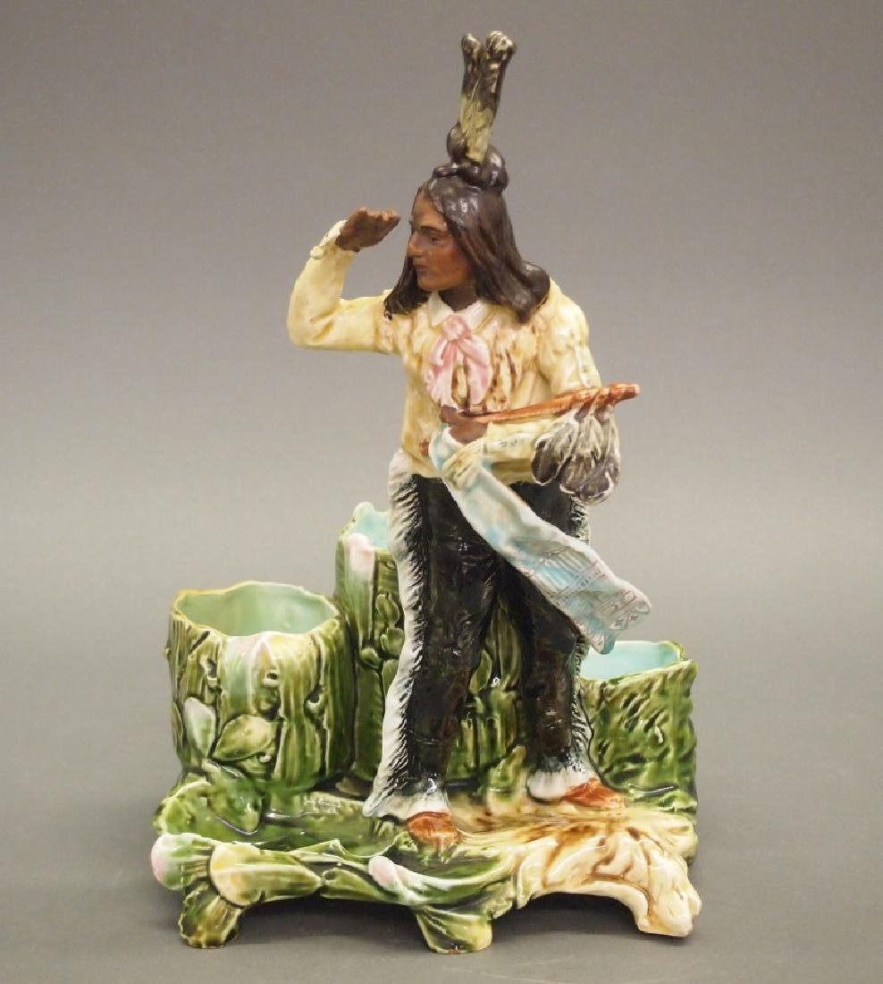 2 Majolica Figural Smoking stands