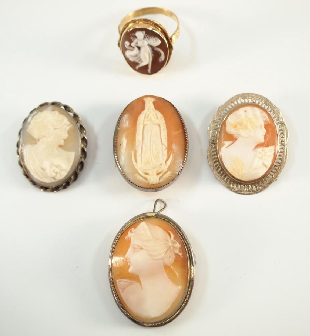 4 Cameo Brooches & 1 Ring