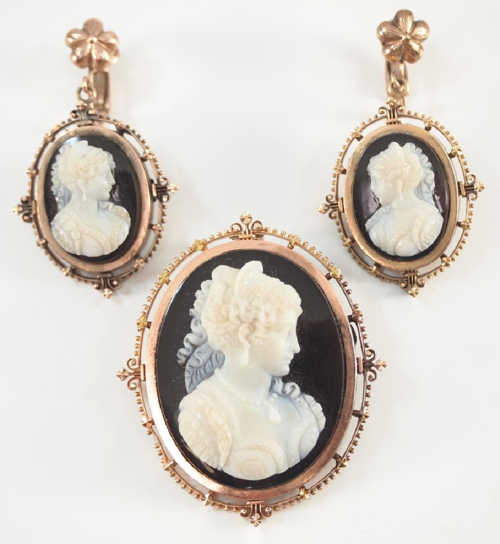 3pc 14 kt Gold Victorian Cameo set