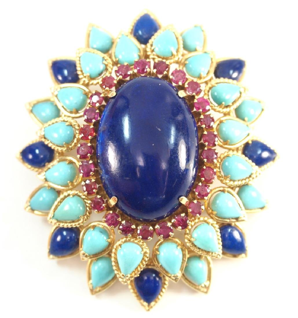 Lapis, Turquoise, Ruby, & Gold Brooch