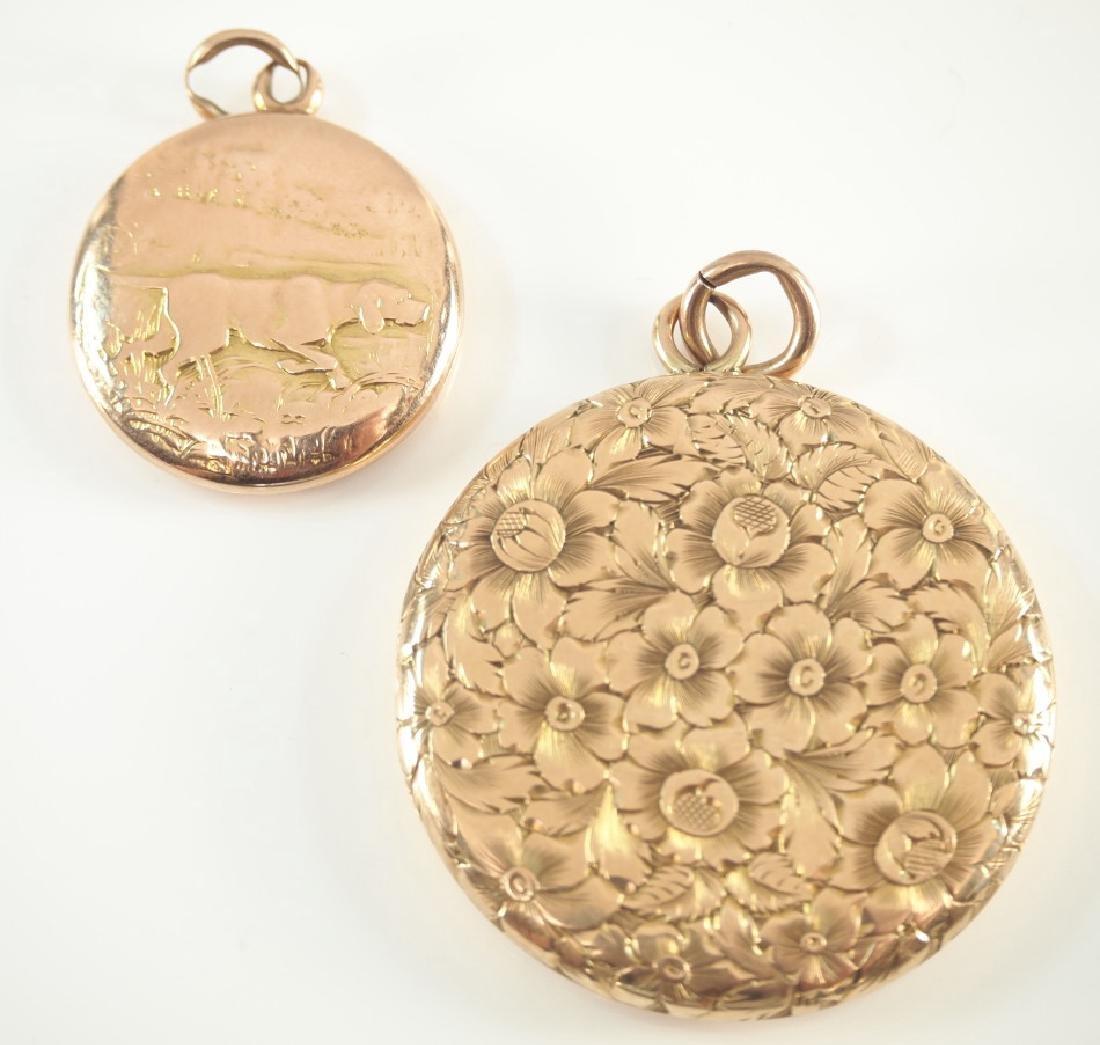 2 14 kt yellow gold lockets