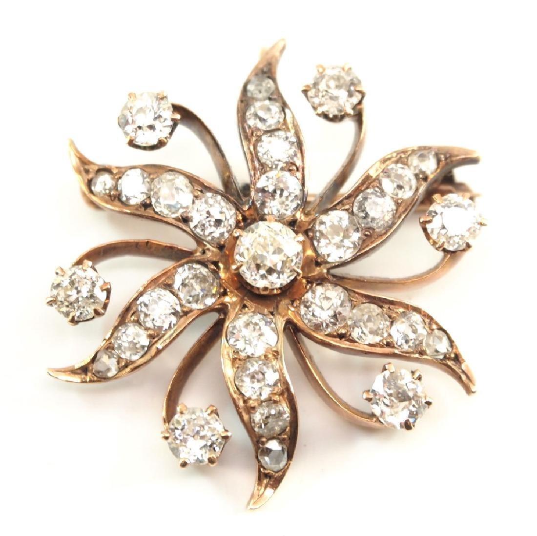 14 kt yellow gold & diamond pendant/brooch