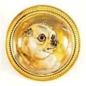18 kt Gold Victorian ReverseCarved Intaglio Dog Brooch