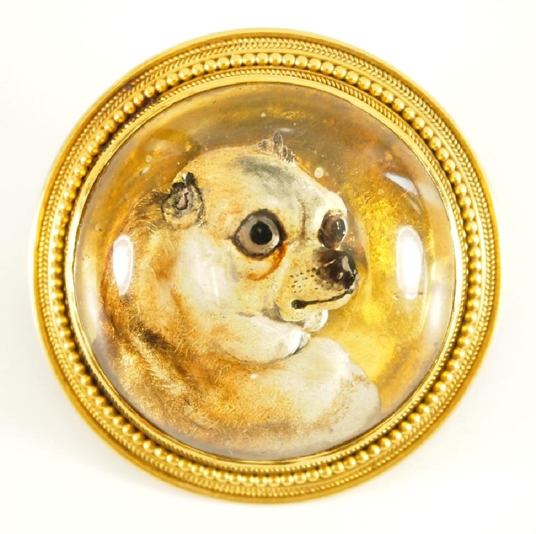 18 kt Gold Victorian Reverse-Carved Intaglio Dog Brooch