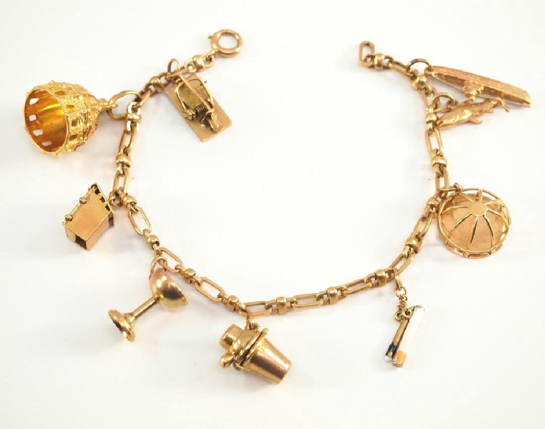 14 kt Yellow Gold Bracelet w/Charms