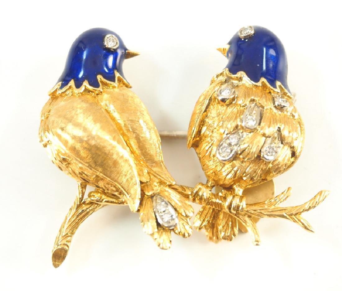 Diamond & 18 kt Gold Bird Brooch