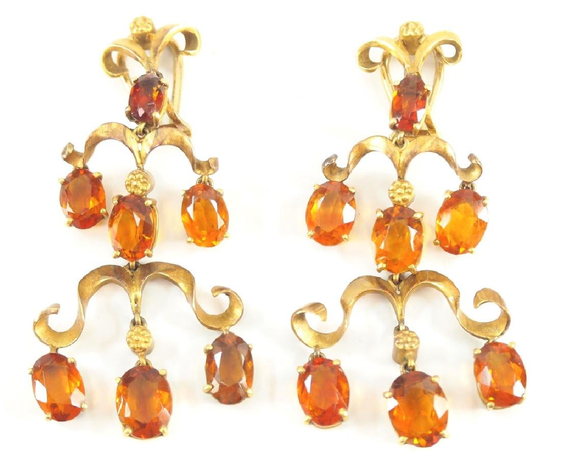 Pr 14 kt Yellow Gold & Citrine Ear clips