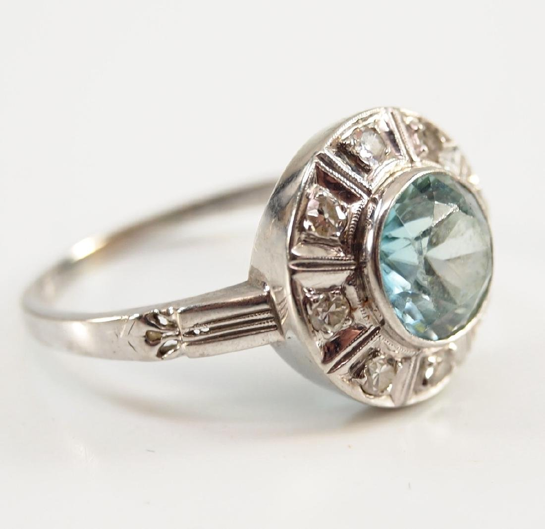 18 kt Gold, Blue Topaz, & Diamond Ring