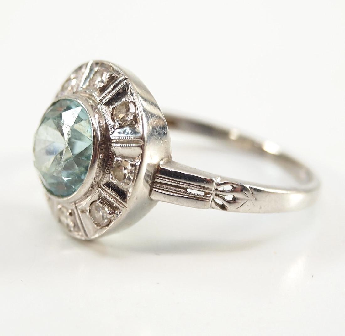 18 kt Gold, Blue Topaz, & Diamond Ring - 2