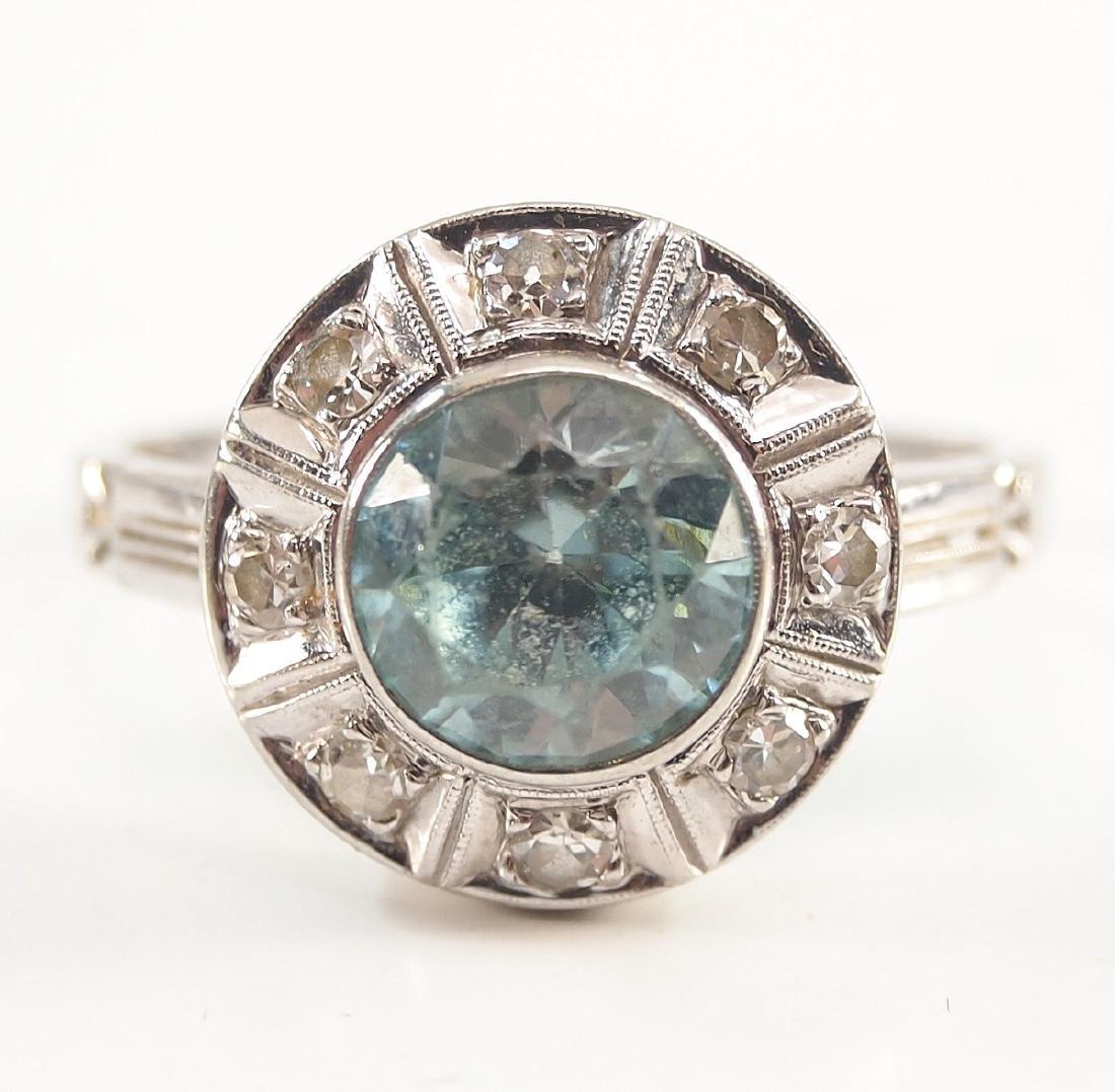 18 kt Gold, Blue Topaz, & Diamond Ring - 3