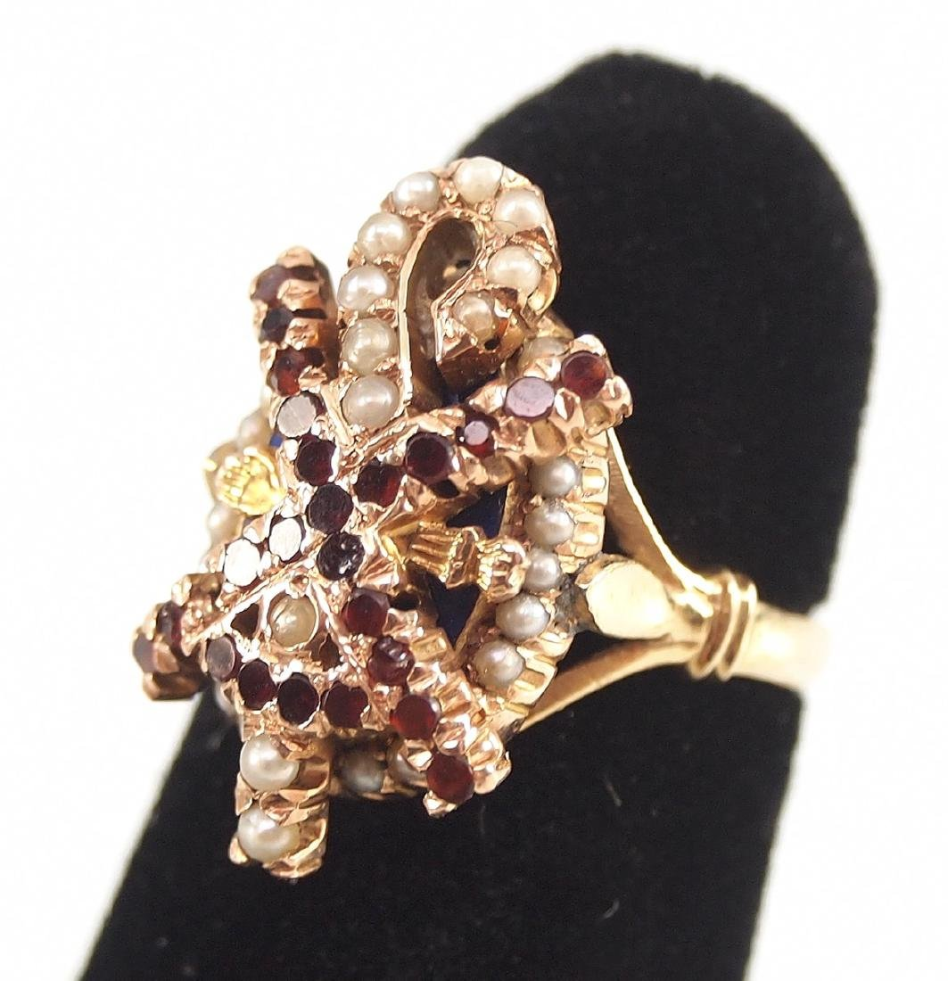 3 14 kt Gold & Semi-Precious Stone Rings - 4