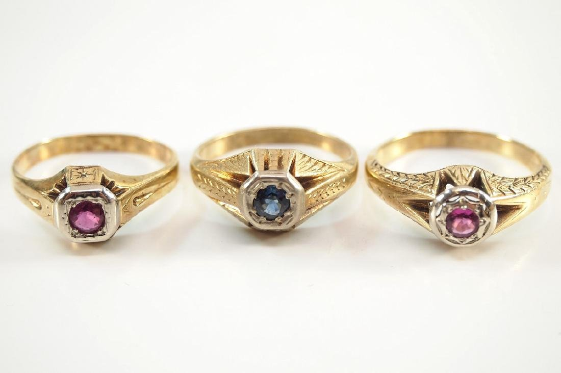 3 14 kt Yellow Gold, Ruby, & Sapphire Rings