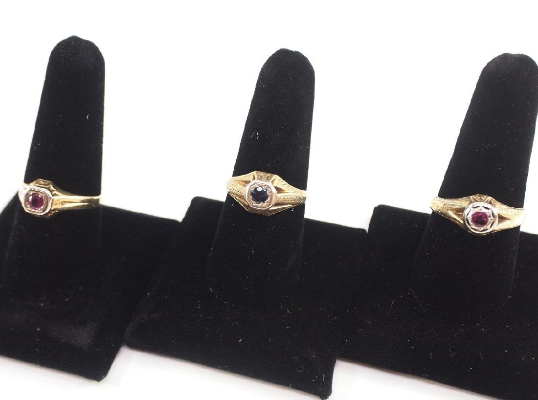 3 14 kt Yellow Gold, Ruby, & Sapphire Rings - 2
