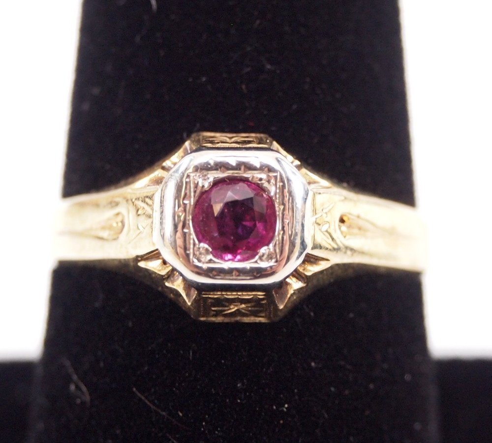 3 14 kt Yellow Gold, Ruby, & Sapphire Rings - 3