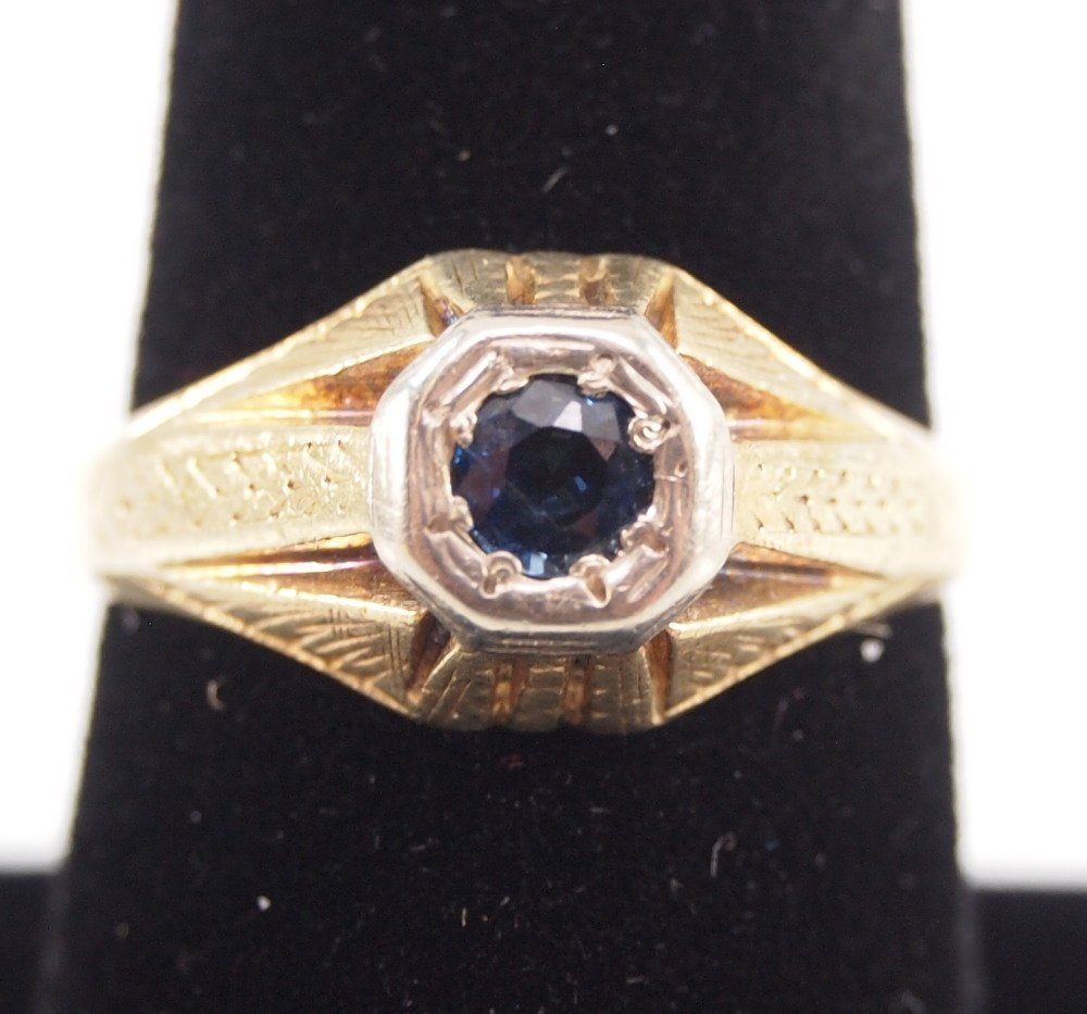 3 14 kt Yellow Gold, Ruby, & Sapphire Rings - 4