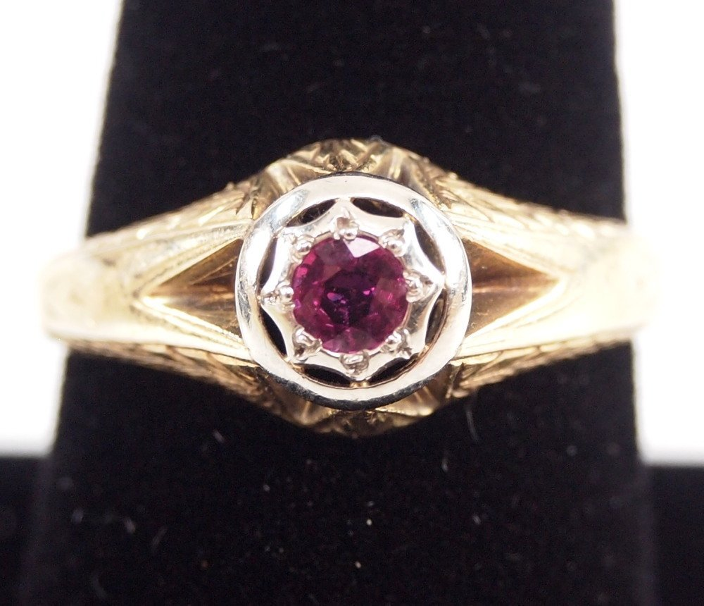 3 14 kt Yellow Gold, Ruby, & Sapphire Rings - 5