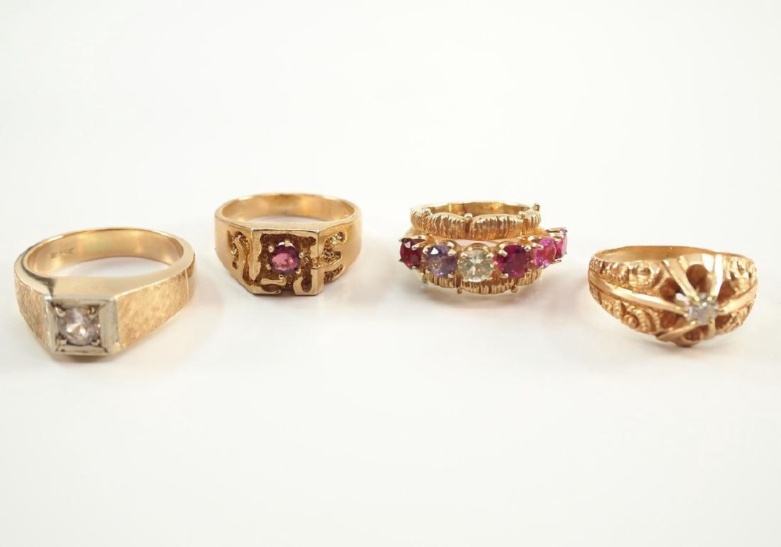 4 Yellow Gold Precious & Semi-Precious Stone Rings