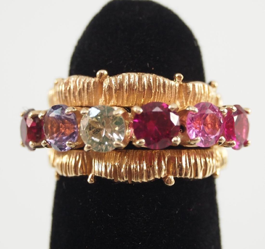 4 Yellow Gold Precious & Semi-Precious Stone Rings - 7