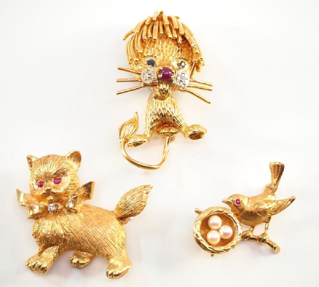 3 14 kt yellow gold & gemstone animal pins