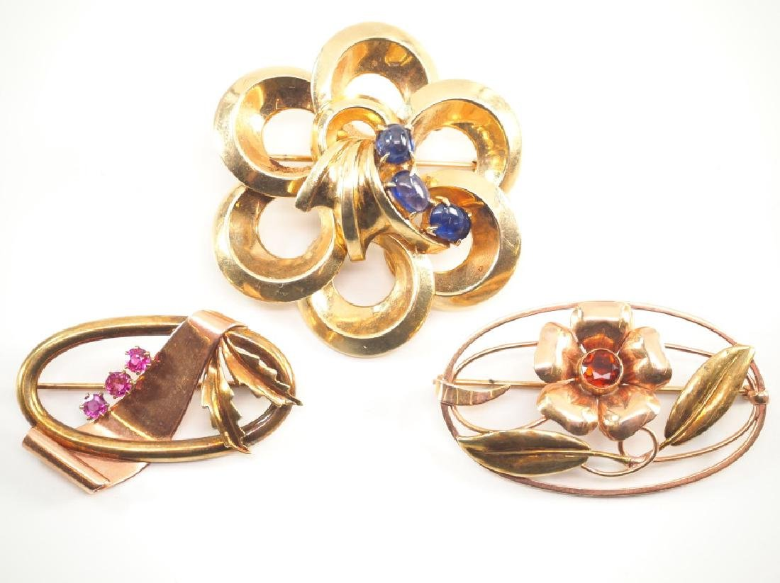 3 14 kt Yellow Gold & Gemstone Brooches