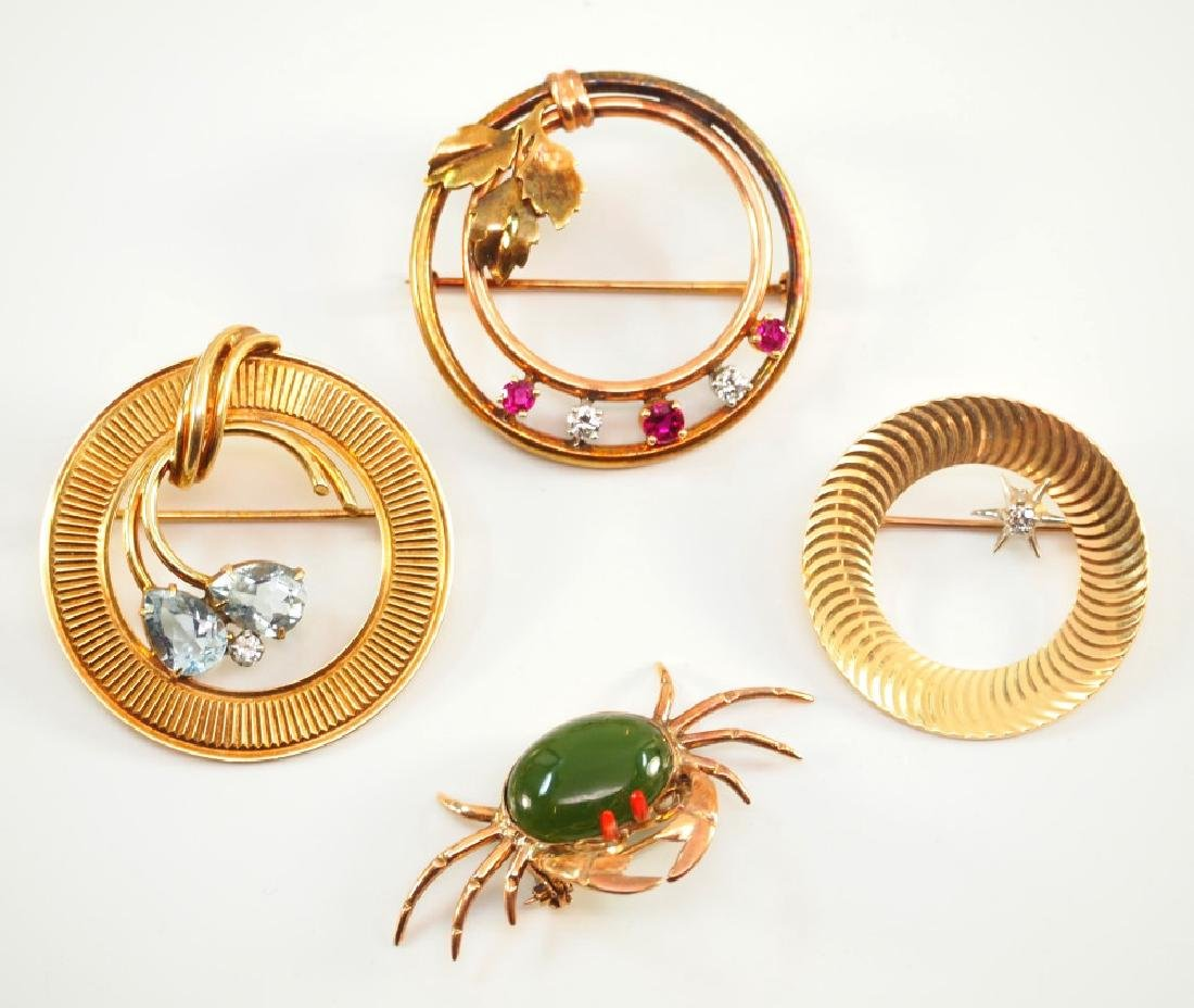 4 14 kt Gold Brooches