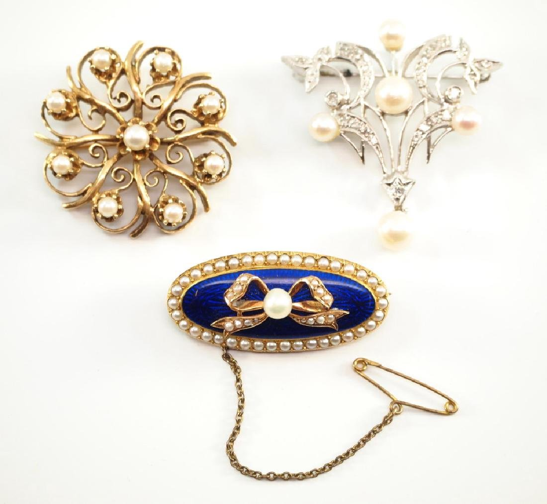 3 Gold, Pearl, Diamond, & Enamel Brooches