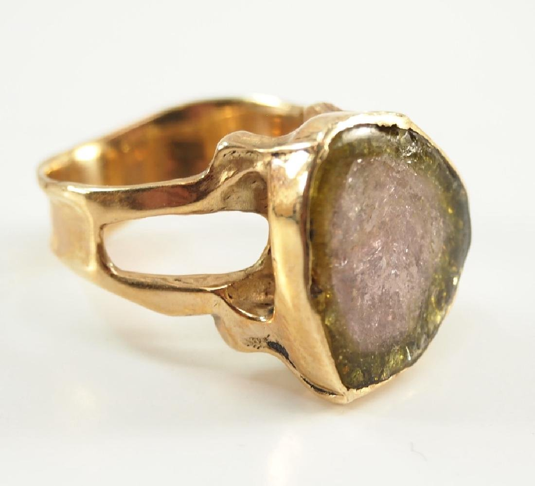 14 kt yellow gold & Watermelon Tourmaline Slice Ring