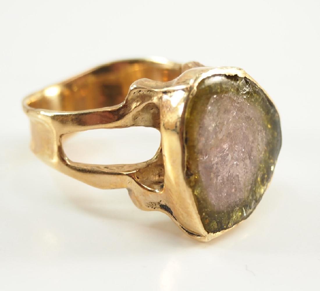 14 kt yellow gold & Watermelon Tourmaline Slice Ring