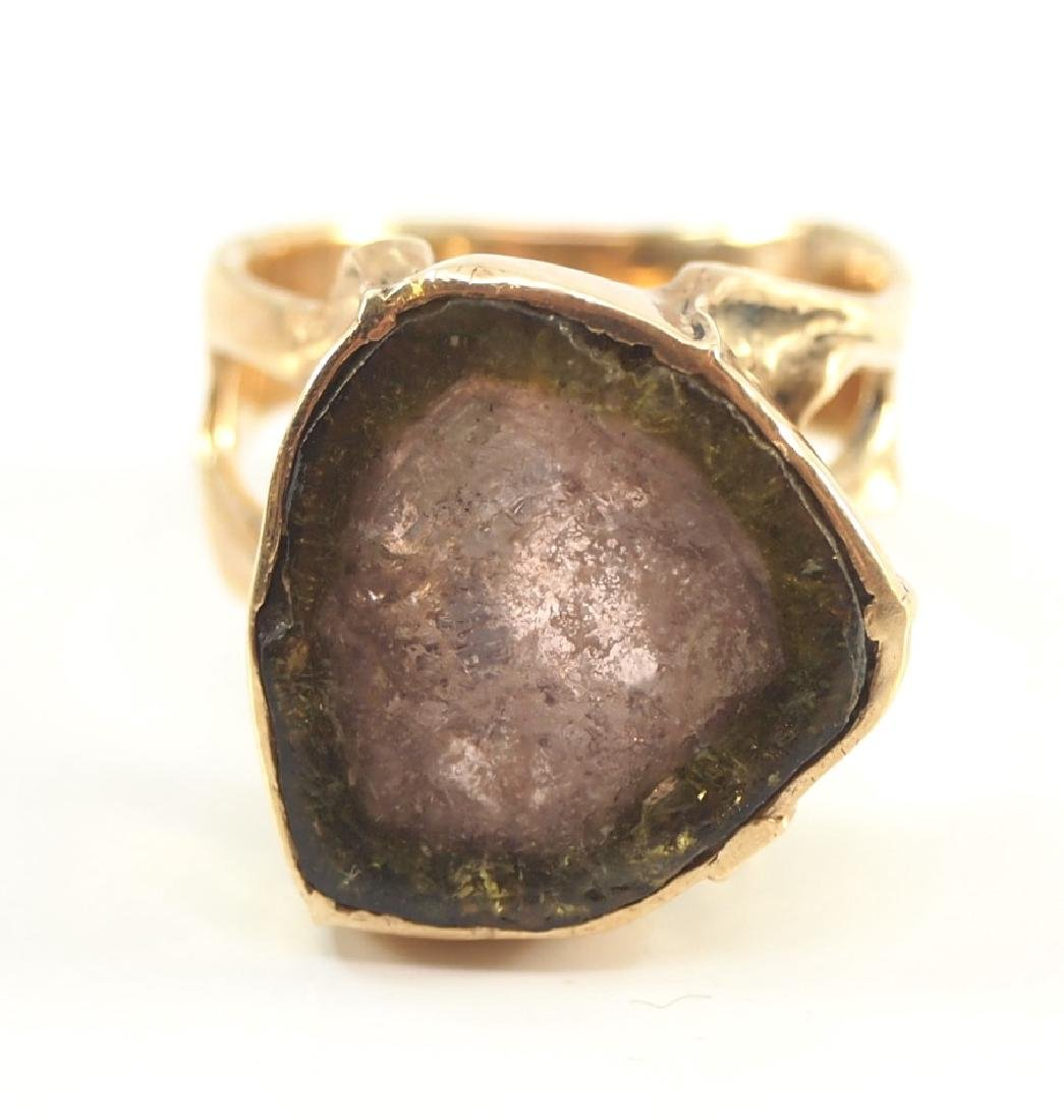 14 kt yellow gold & Watermelon Tourmaline Slice Ring - 2