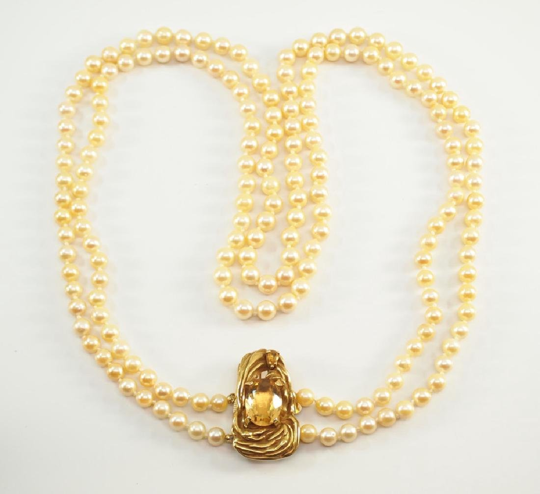 Pearl double strand Necklace with Brooch Clasp