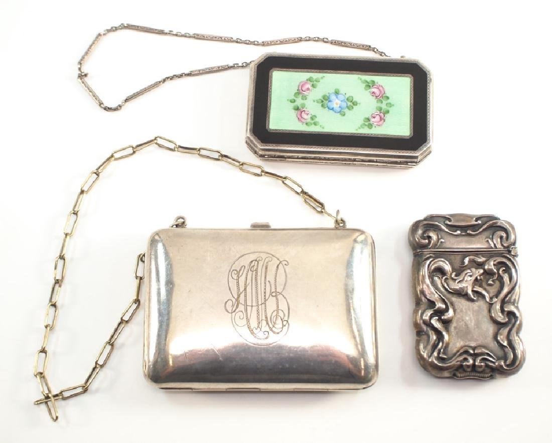 2 Early 20th c. American Sterling Purses & a Match Safe