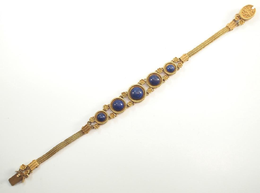 Victorian 20 kt Yellow Gold & Lapis Bracelet