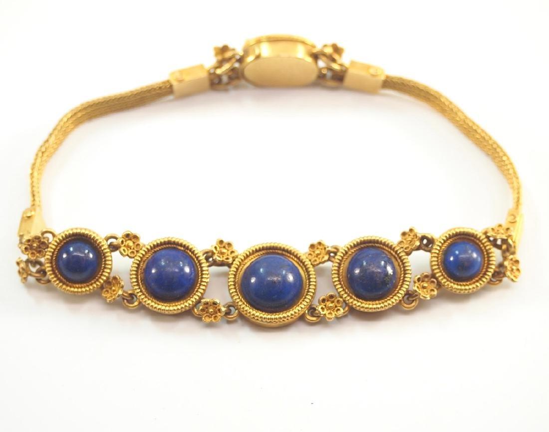 Victorian 20 kt Yellow Gold & Lapis Bracelet - 2