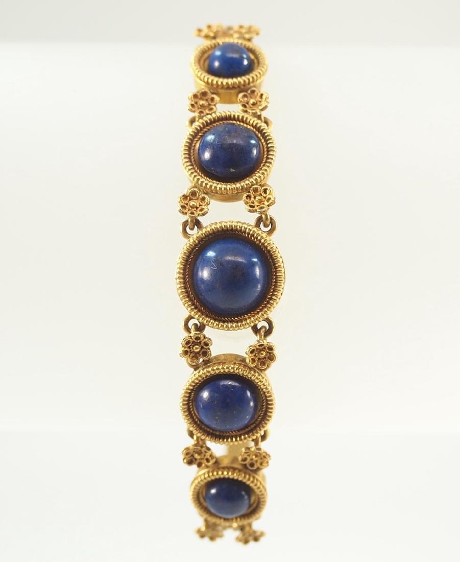 Victorian 20 kt Yellow Gold & Lapis Bracelet - 4