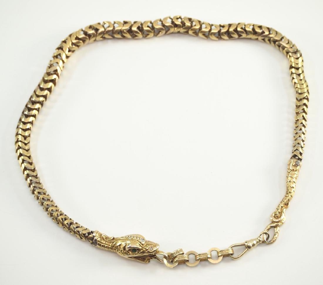 Victorian Snake Form Watch Chain - 2