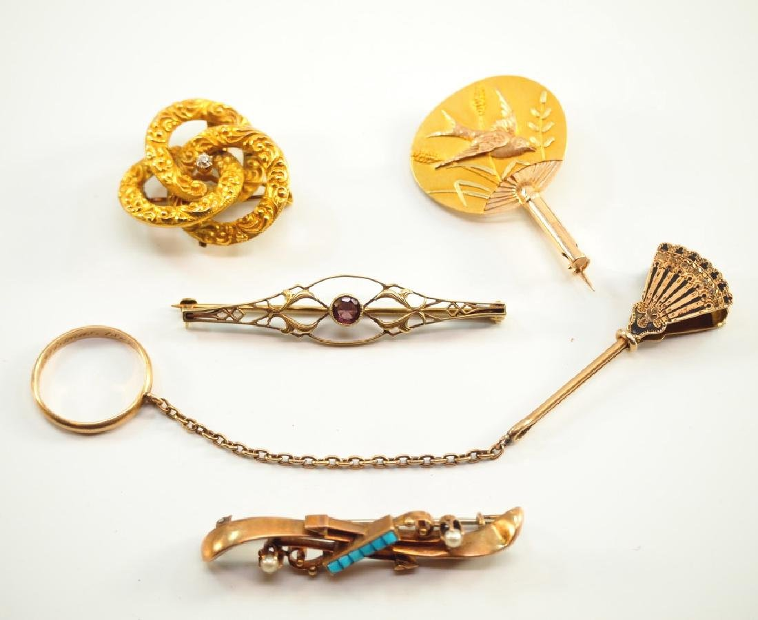 5 Victorian & Edwardian Brooches Handkerchief Ring